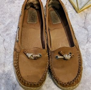 UGG tan brown leather espadrille driving loafers